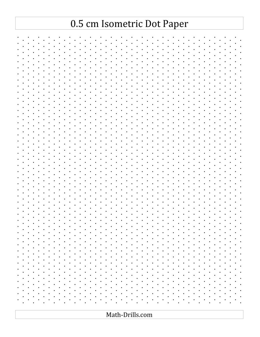 0.5 Cm Isometric Dot Paper (Portrait) (A) - Free Printable Square Dot Paper