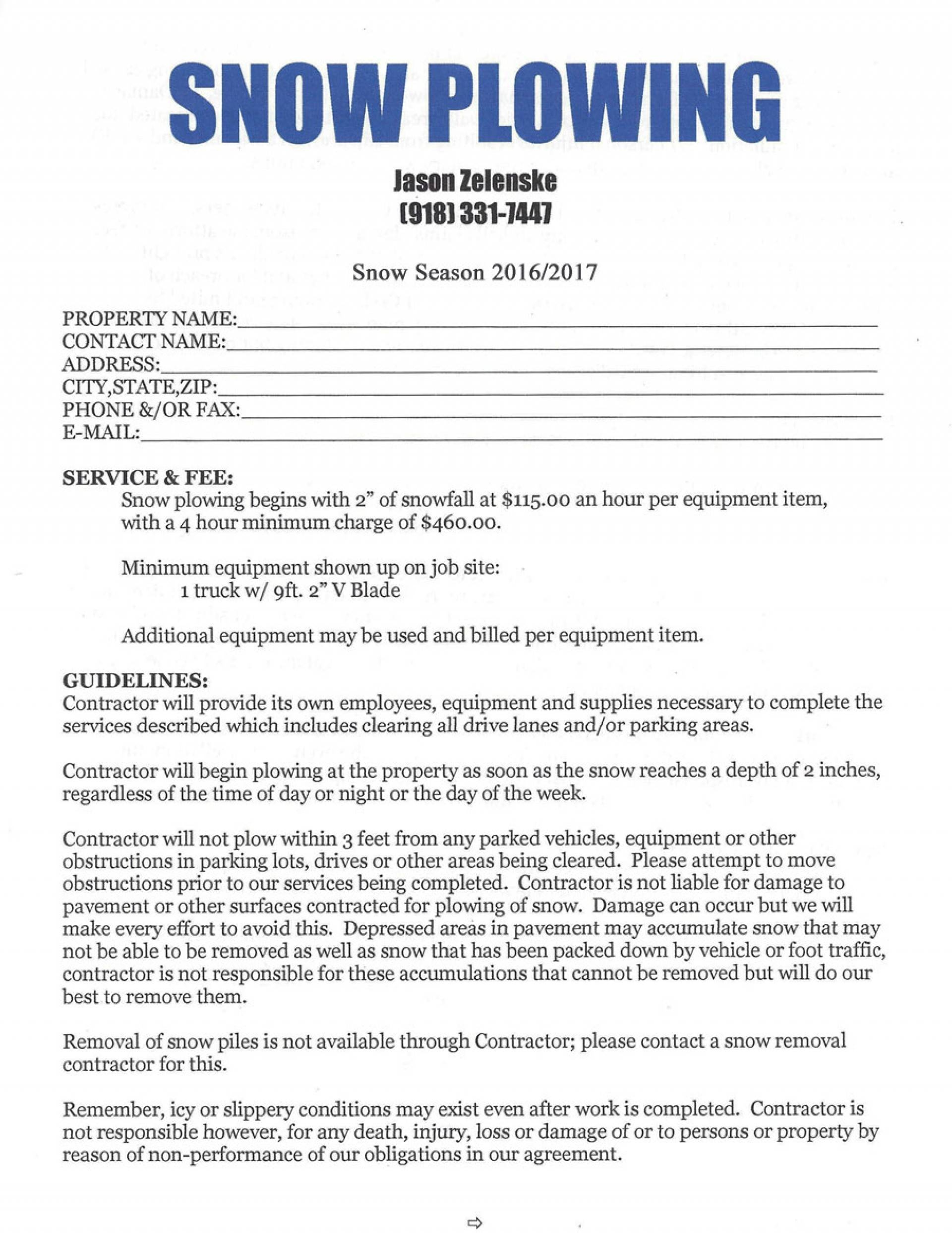 002 Simple Snow Plow Contract Template Removal Stupendous Ideas - Free Printable Snow Removal Contract