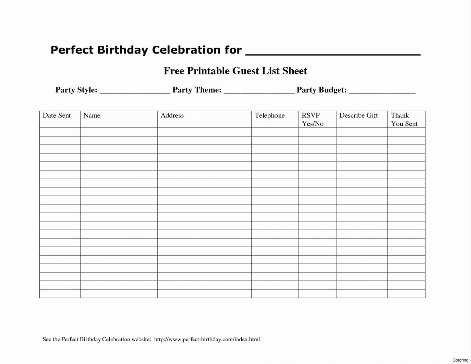 012 Template Ideas Birthday Guest List Sensational Party Pdf Excel - Free Printable Birthday Guest List