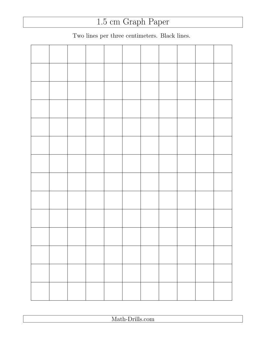 1.5 Cm Graph Paper With Black Lines (A) - Cm Graph Paper Free Printable