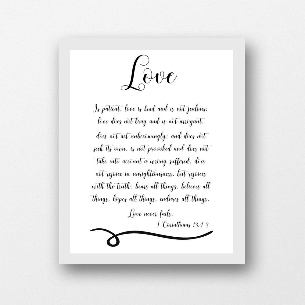 1 Corinthians 13:4-8, Love Is Patient, Scripture Black/white, 8 X 10 - Love Is Patient Free Printable