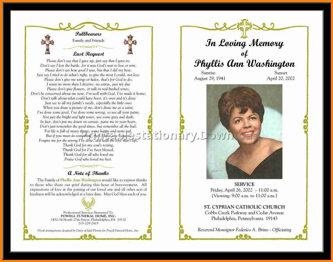 12+ Free Funeral Program Layout   Quick Askips - Free Printable Funeral Programs