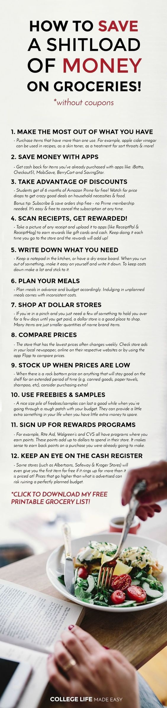 12 Ways For College Students To Save Money On Groceries (No Coupons - Free Printable Coupons Without Downloads