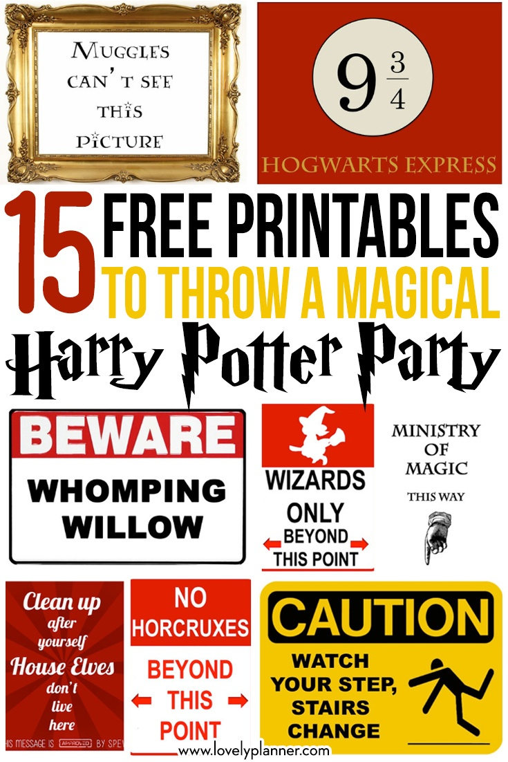 15 Free Harry Potter Party Printables - Part 1 - Lovely Planner - Free Printable Harry Potter Pictures