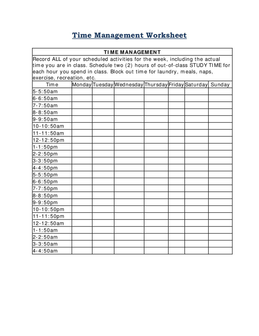 2019 Time Management - Fillable, Printable Pdf & Forms | Handypdf - Time Management Forms Free Printable