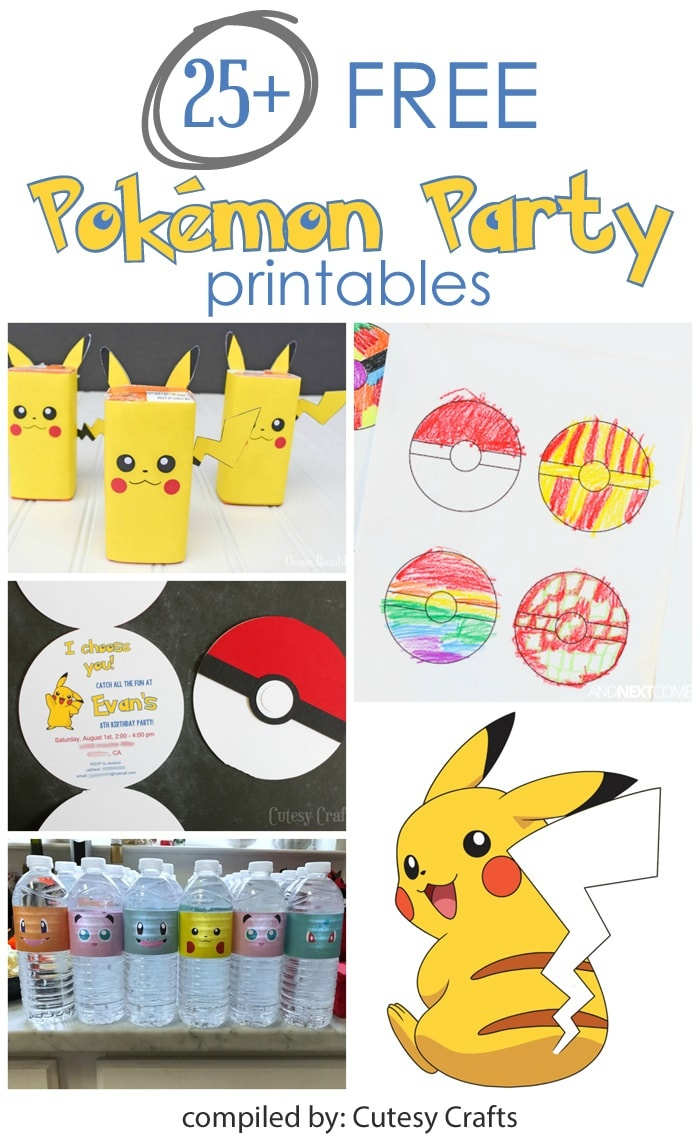 25+ Free Pokemon Party Printables - Cutesy Crafts - Free Printable Pokemon Thank You Tags