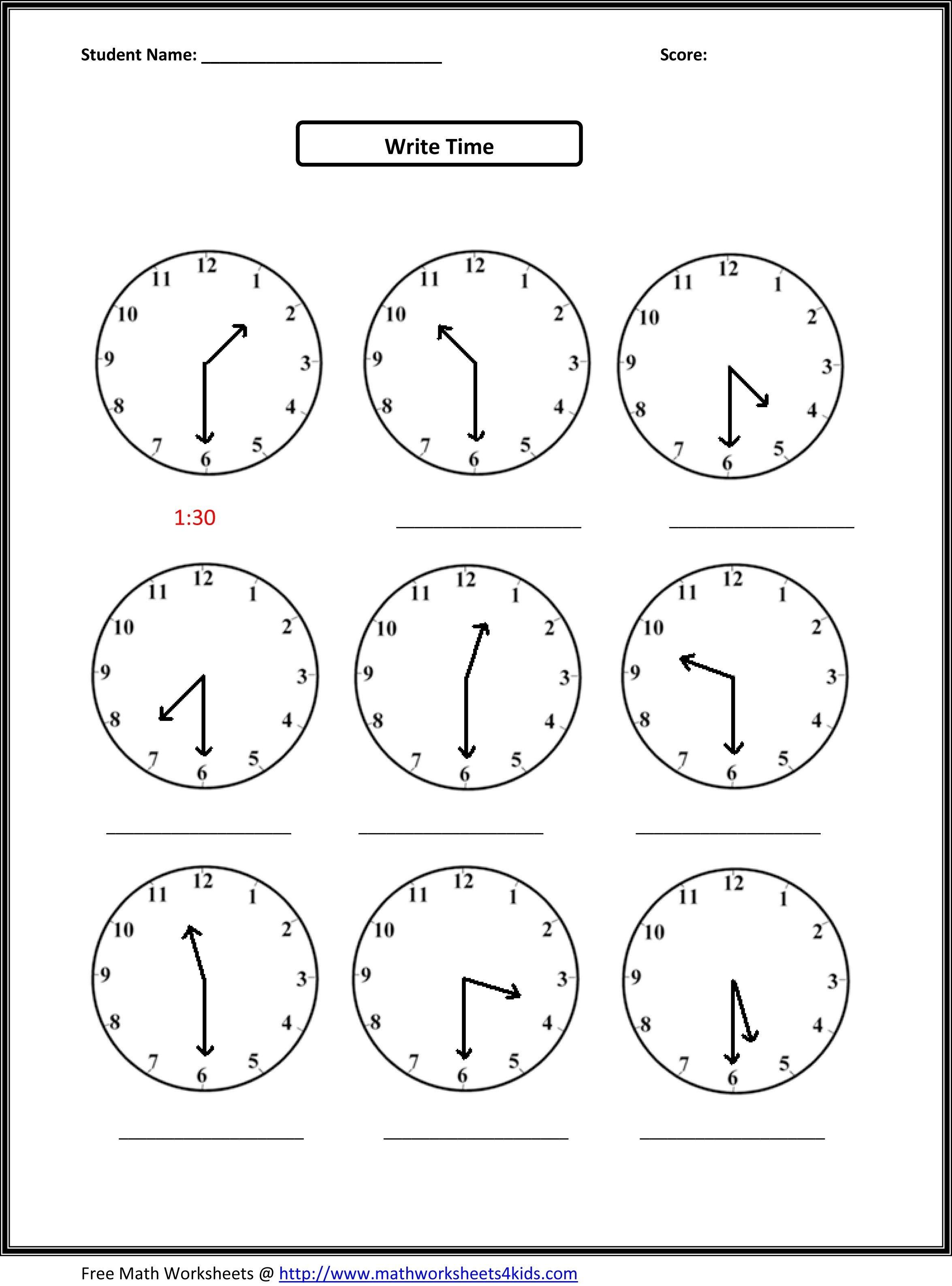 2Nd Grade Free Worksheets Math | Math: Time/measurement | 2Nd Grade - Free Printable Time Worksheets For Kindergarten
