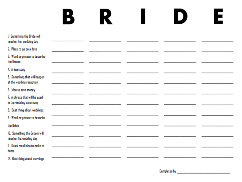3 Free Printable Bridal Shower Games (That Are Actually Fun) | When - Scattergories Free Printable Sheets