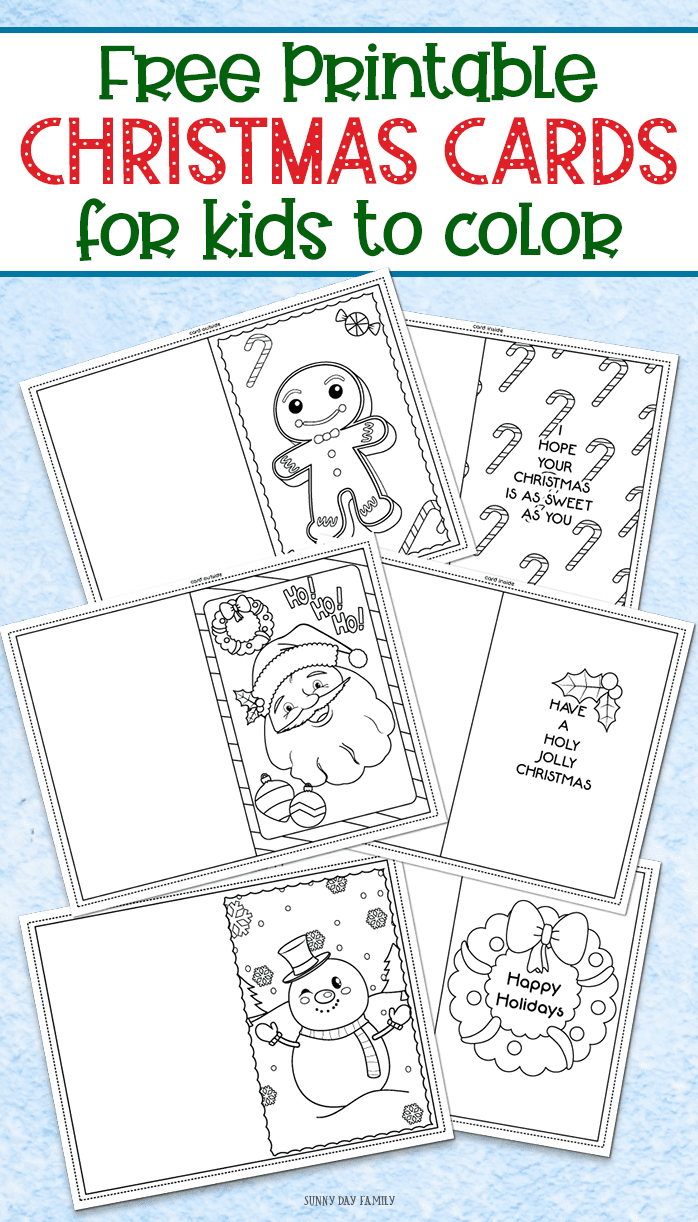 3 Free Printable Christmas Cards For Kids To Color | Sunny Day - Christmas Cards For Grandparents Free Printable
