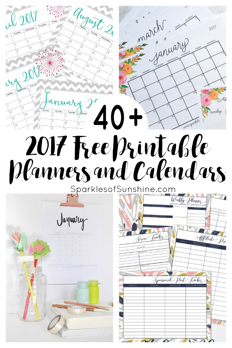 40+ Awesome Free Printable 2017 Calendars And Planners - Sparkles Of - Free Printable Agenda 2017