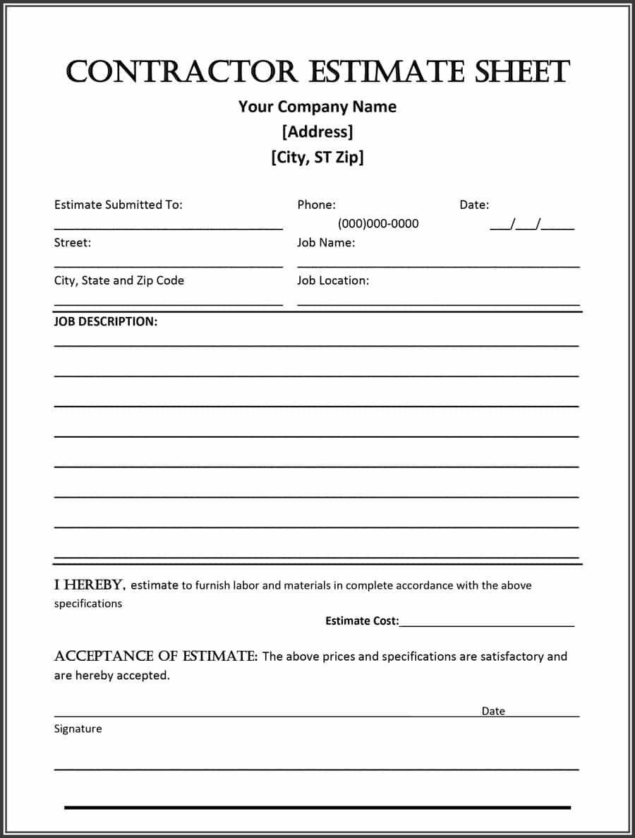 44 Free Estimate Template Forms [Construction, Repair, Cleaning] - Free Printable Job Quote Forms