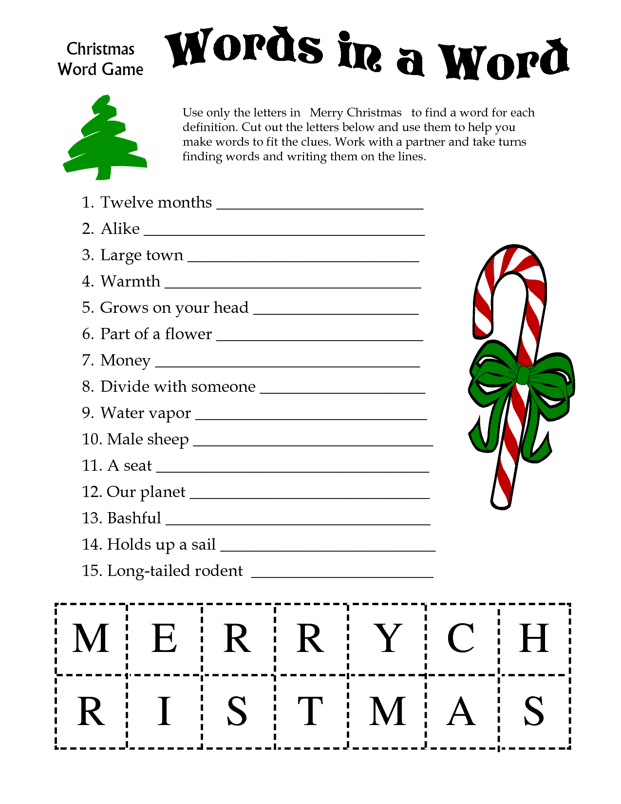 5 Images Of Free Printable Christmas Word Games | Printablee - Free Printable Christmas Games And Puzzles