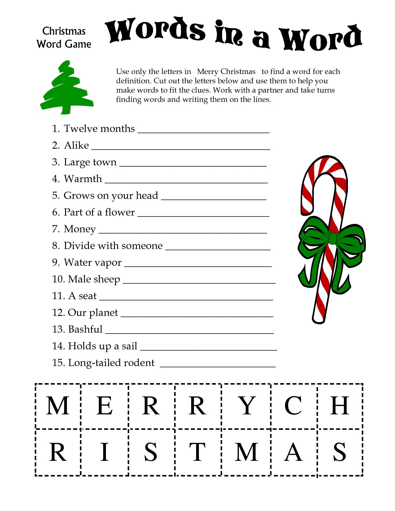 5 Images Of Free Printable Christmas Word Games | Printablee - Free Printable Christmas Puzzles