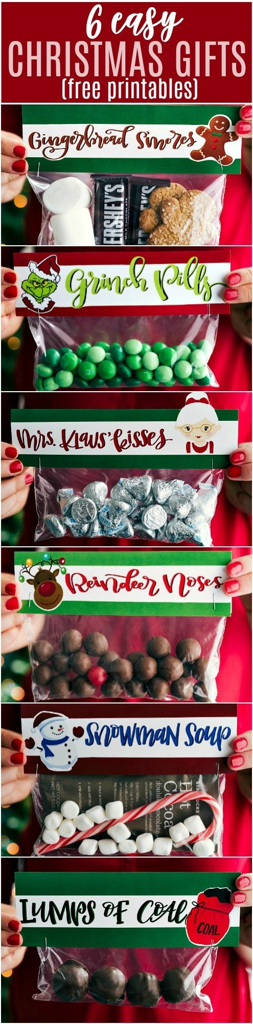 6 Easy Christmas Gifts {Free Printables} | Chelsea's Messy Apron - Free Printable Christmas Bag Toppers Templates