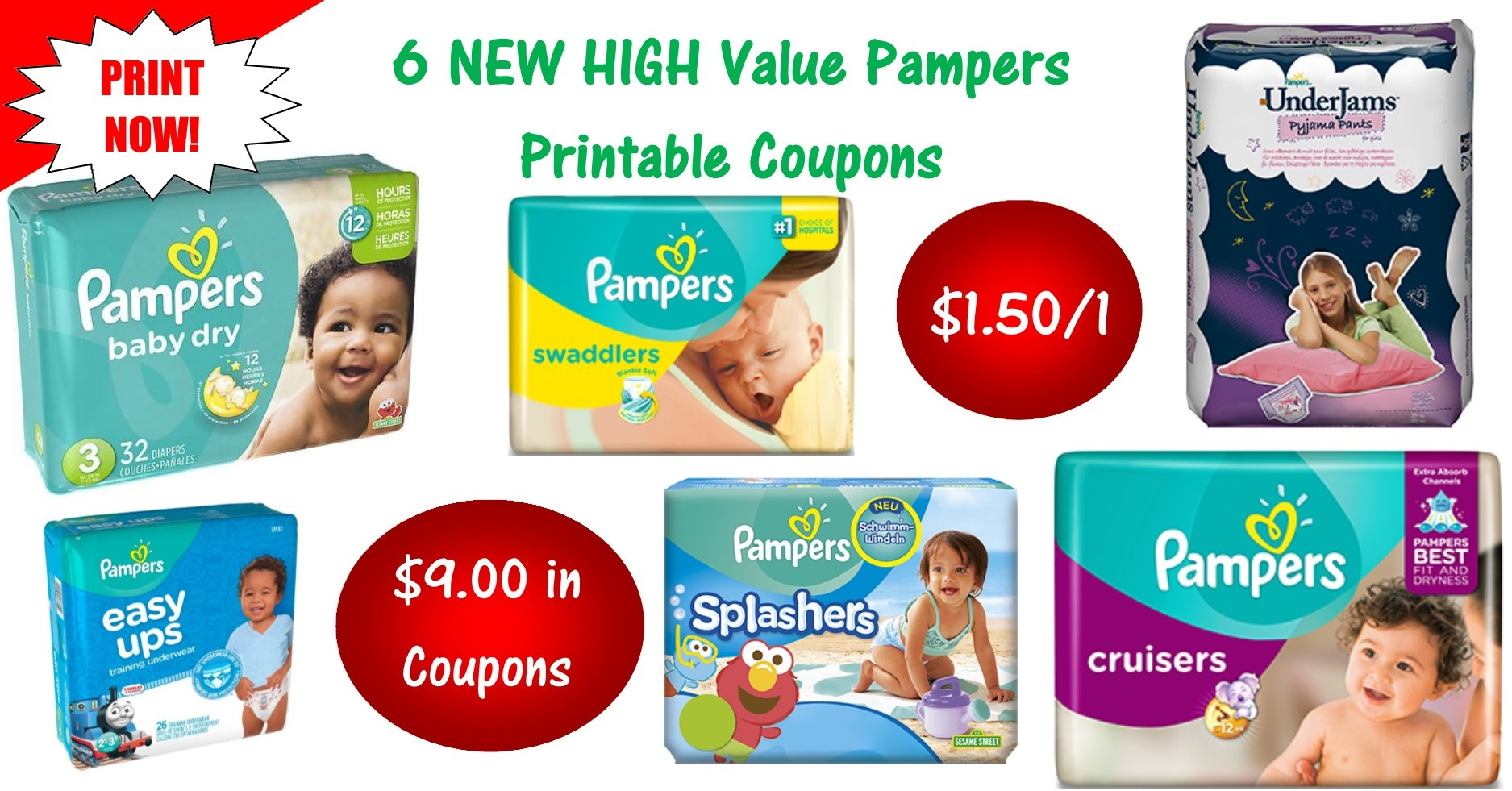 6 Pampers Printable Coupons ~ Print Now! $9 In Savings! - Free Printable Coupons For Pampers Pull Ups