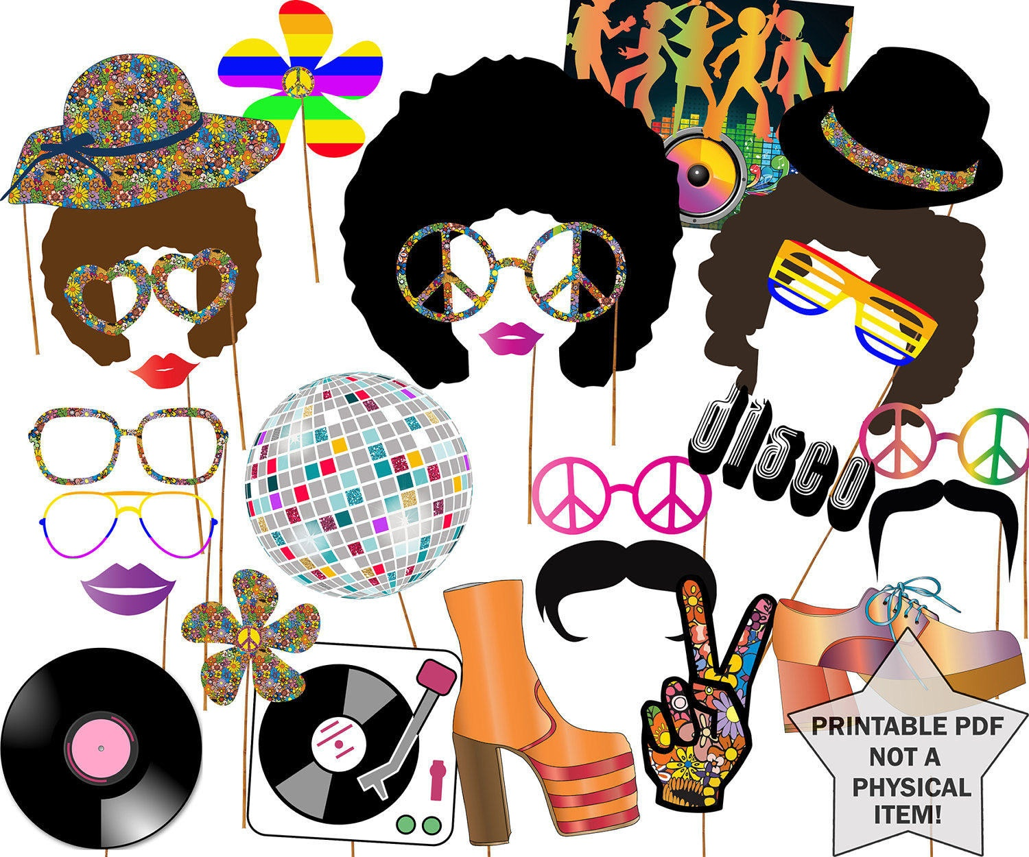 70S Party Photo Booth Props: Disco Party Props | Etsy - Free Printable 70's Photo Booth Props