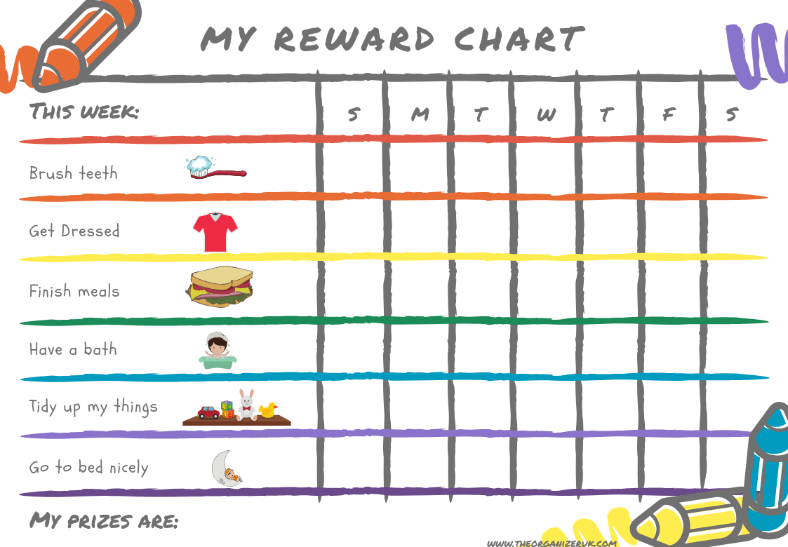 8 Of The Best Free Printable Kids Chore Charts ~ The Organizer Uk - Reward Charts For Toddlers Free Printable