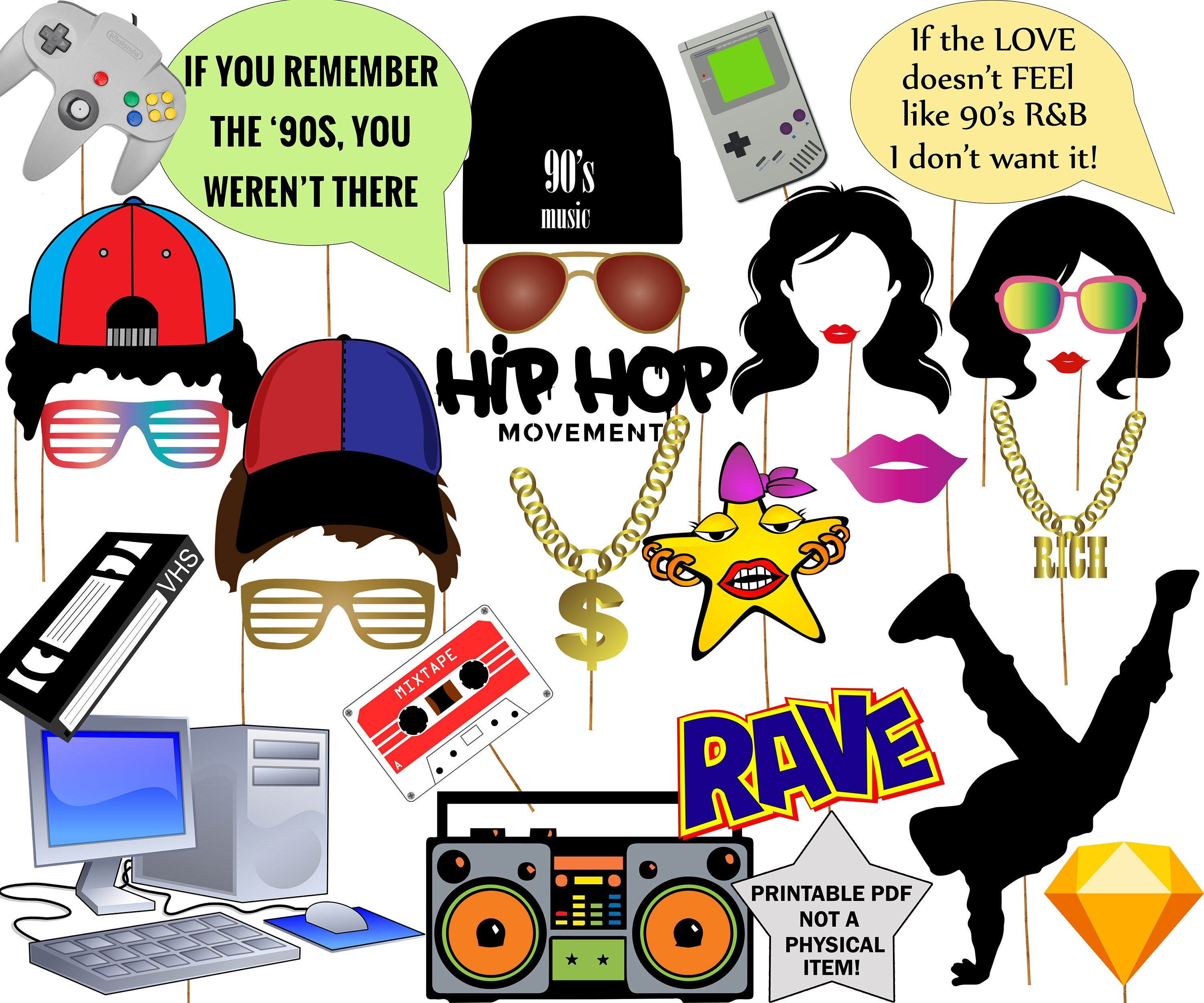 """90S Photo Booth Props: """"90S Party Props"""" 90S Themed Photobooth - Printable 90S Props Free"""