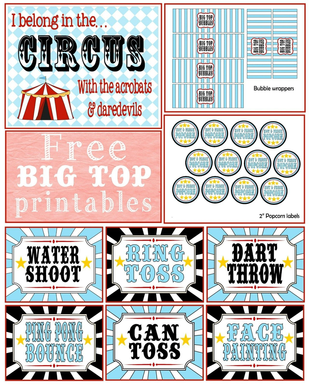 A First Birthday {Big Top} Bash + Free Printables | -♥- Parties - Free Printable Carnival Decorations