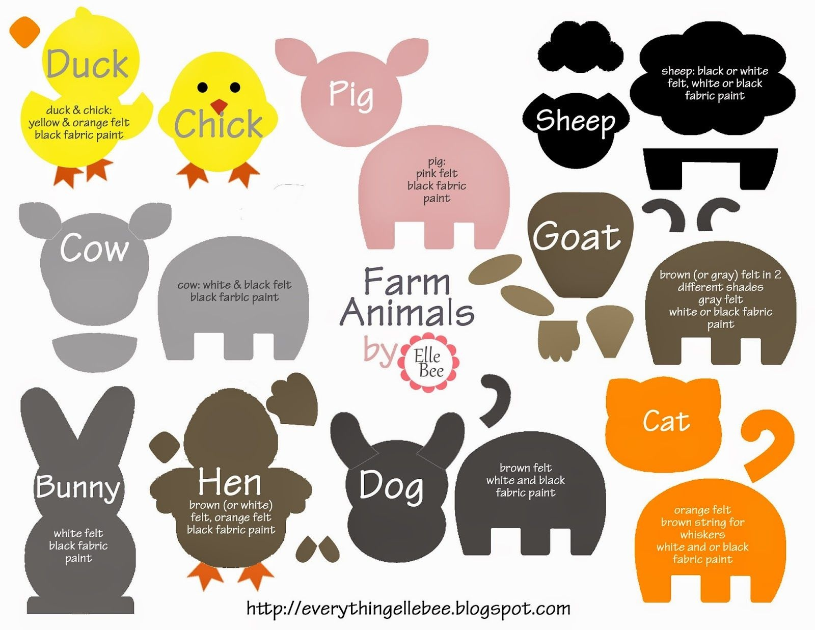 A Little Bit Of Everything : Free Printable Farm Animal Template - Free Printable Farm Animal Cutouts