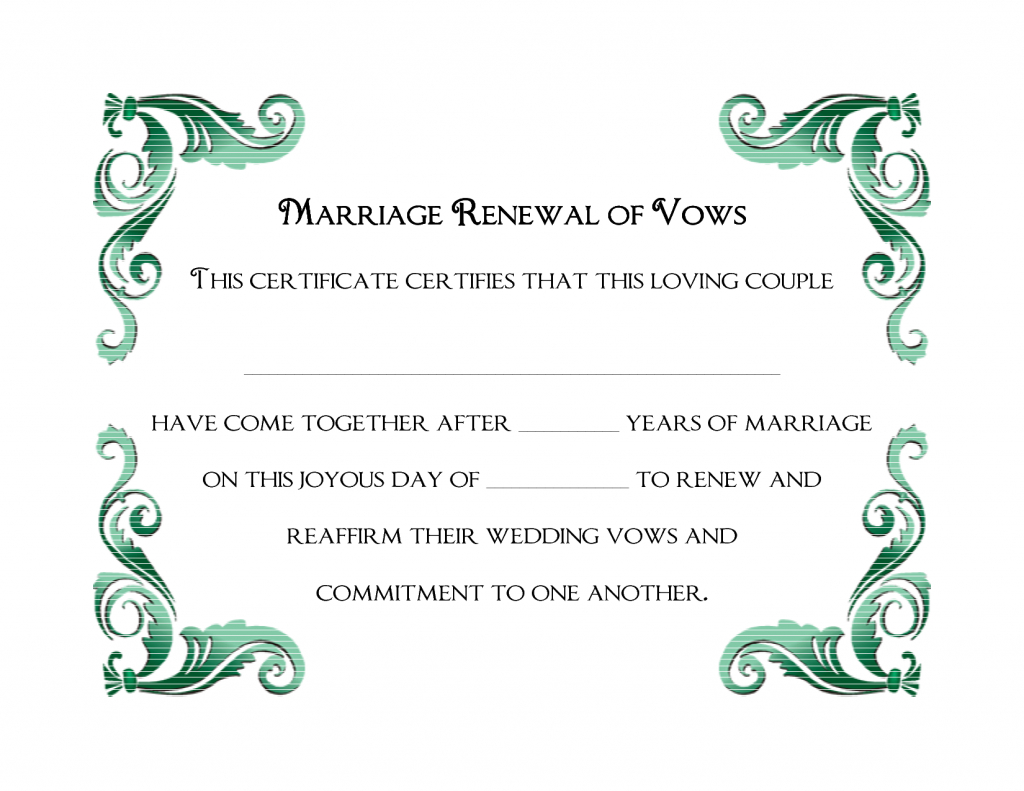A Simple Green Frame Of Free Printable Wedding Vows Renewal - Free Printable Wedding Certificates