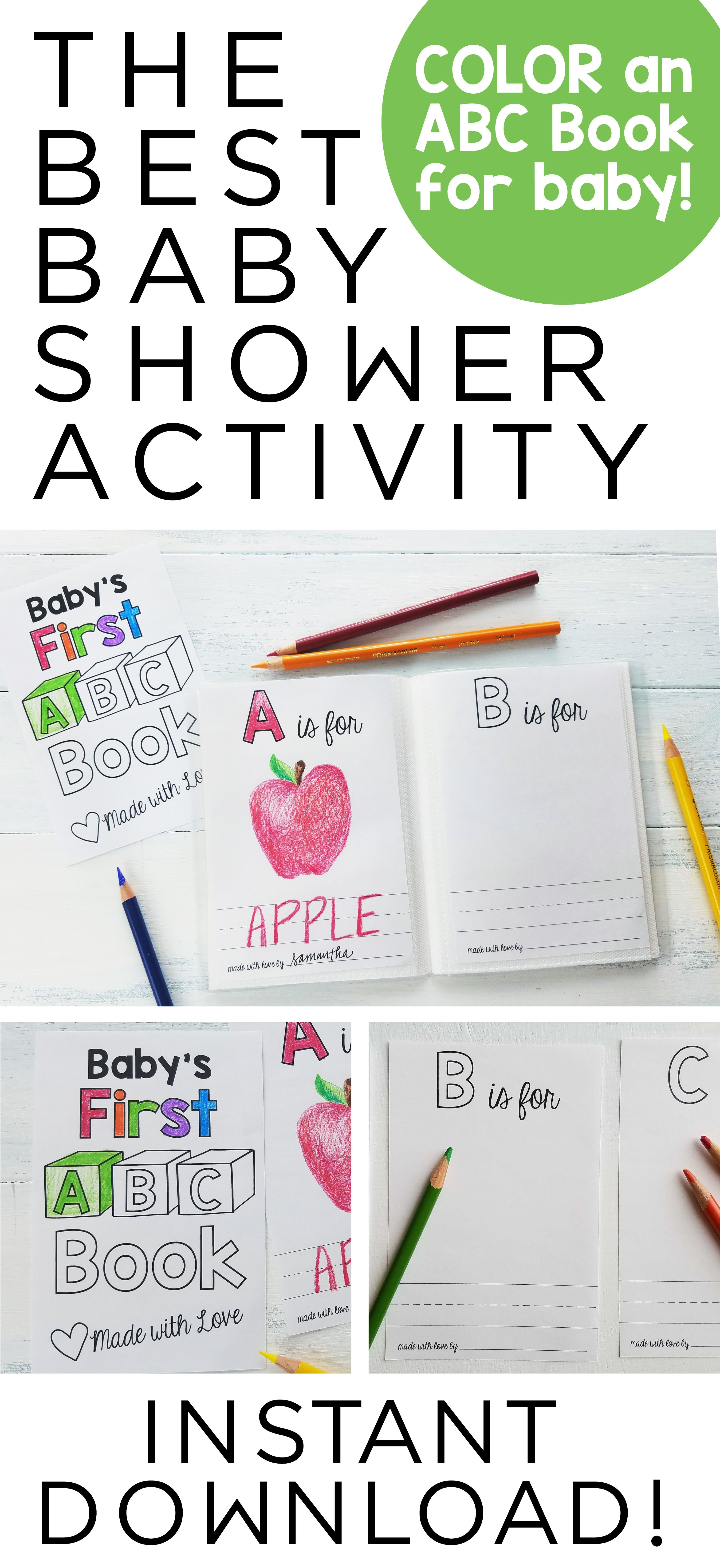 Abc Book Template Diy / Baby Shower Activity / Alphabet Color - Free Printable Baby Shower Coloring Pages
