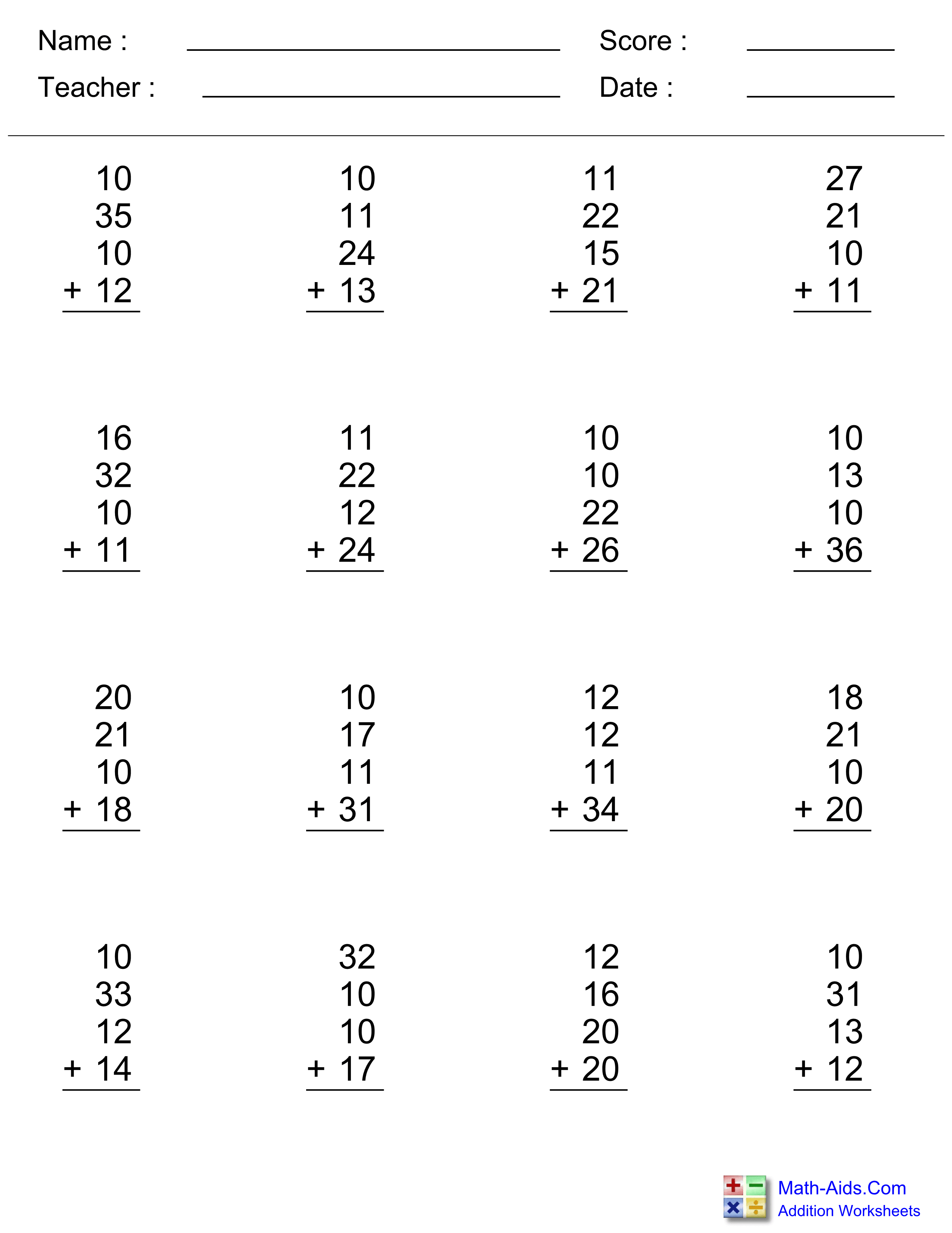 Addition Worksheets | Dynamically Created Addition Worksheets - Free Printable Addition Worksheets