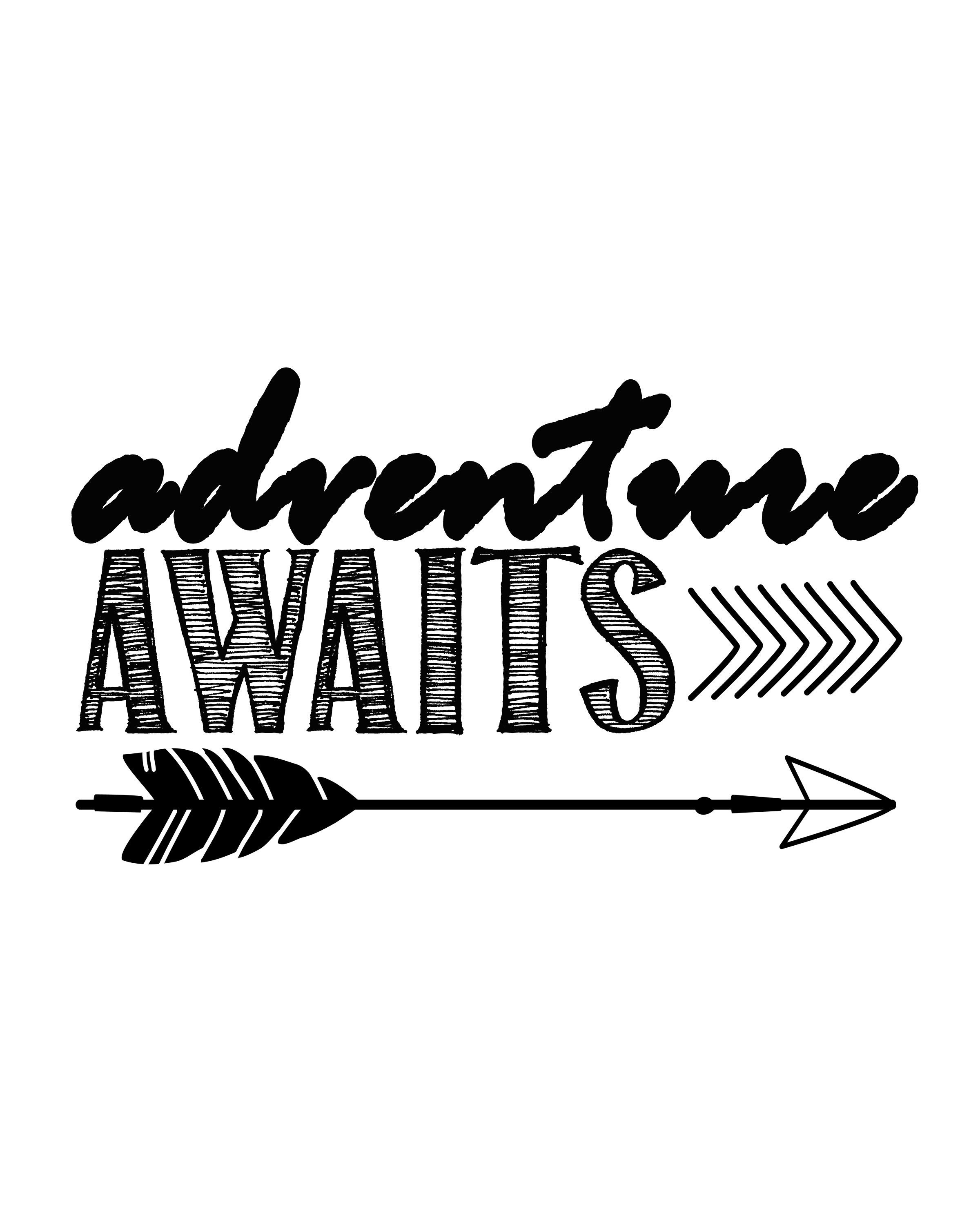 Adventure Awaits…free Printable Art Print | Silouehette Stuff | Free - Free Printable Quote Stencils