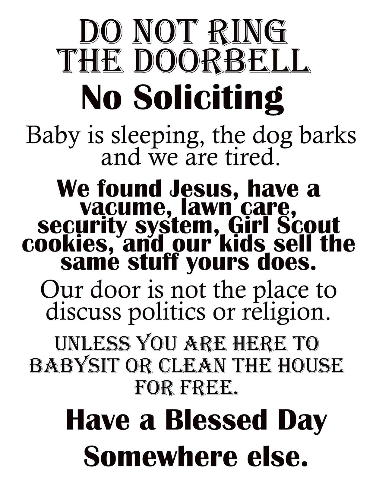 "Afloat In The Deep Blue: Printable ""no Soliciting"" Sign. 