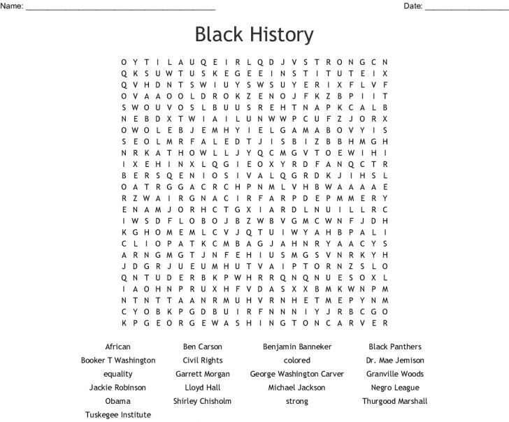 Free Printable Black History Month Word Search