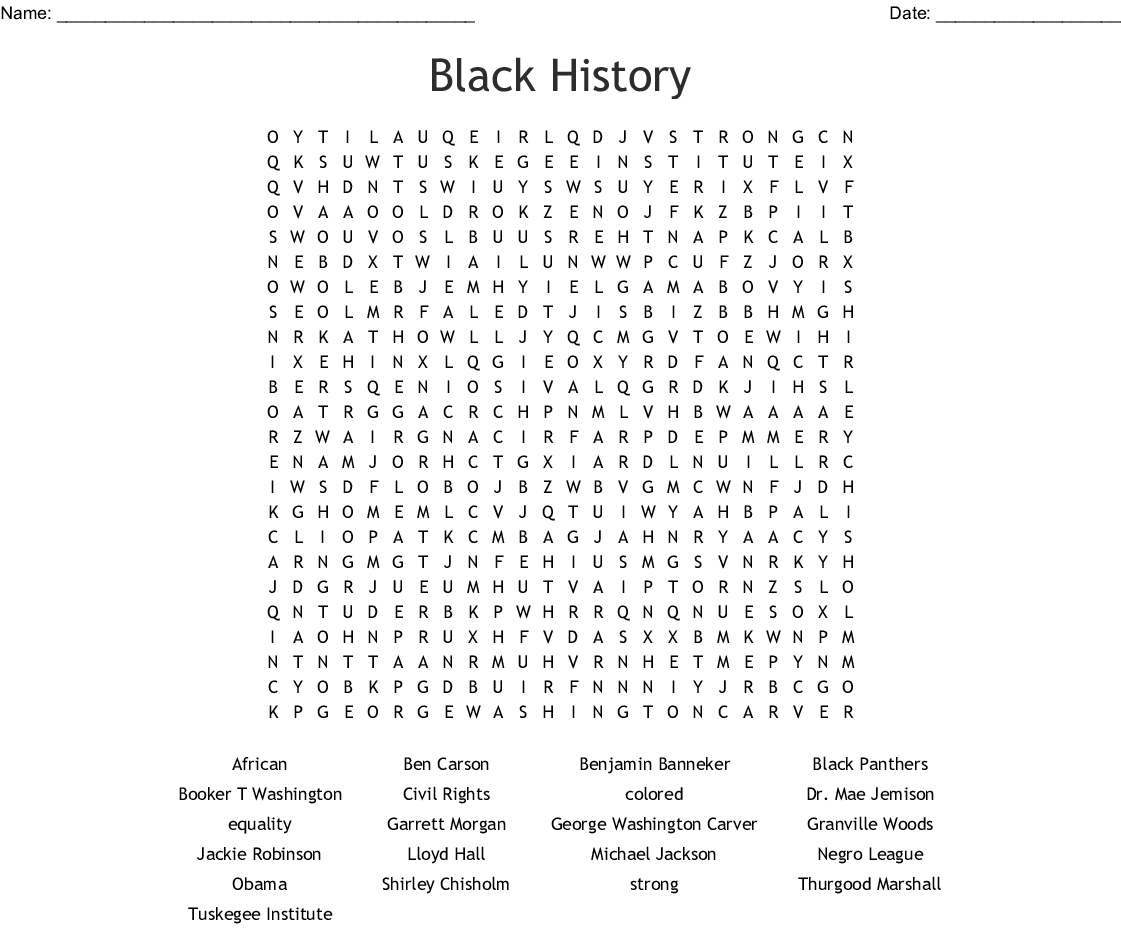 African American Inventors Word Search - Wordmint - Free Printable Black History Month Word Search