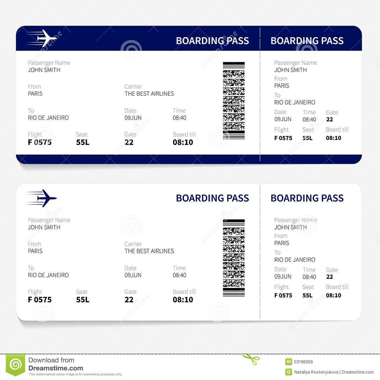 Airline Ticket Template Free Sample Customer Service Resume - Free Printable Boarding Pass