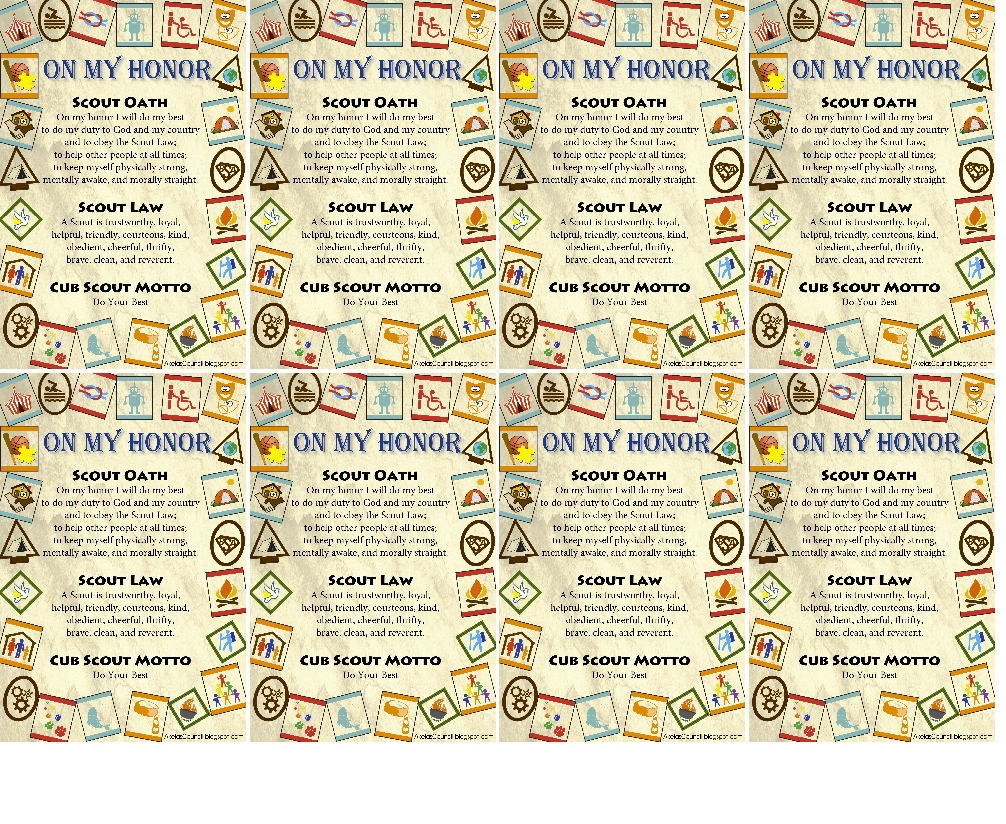 Akela's Council Cub Scout Leader Training: Cub Scout On My Honor - Eagle Scout Cards Free Printable