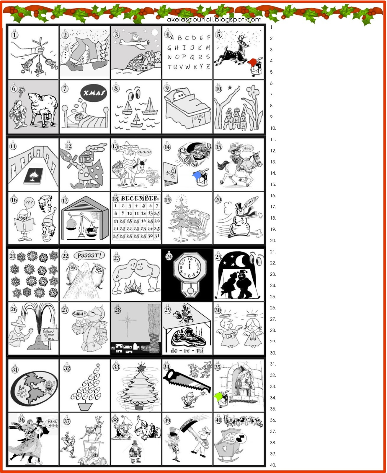 Akela's Council Cub Scout Leader Training: Guess The Christmas Songs - Free Printable Christmas Puzzles