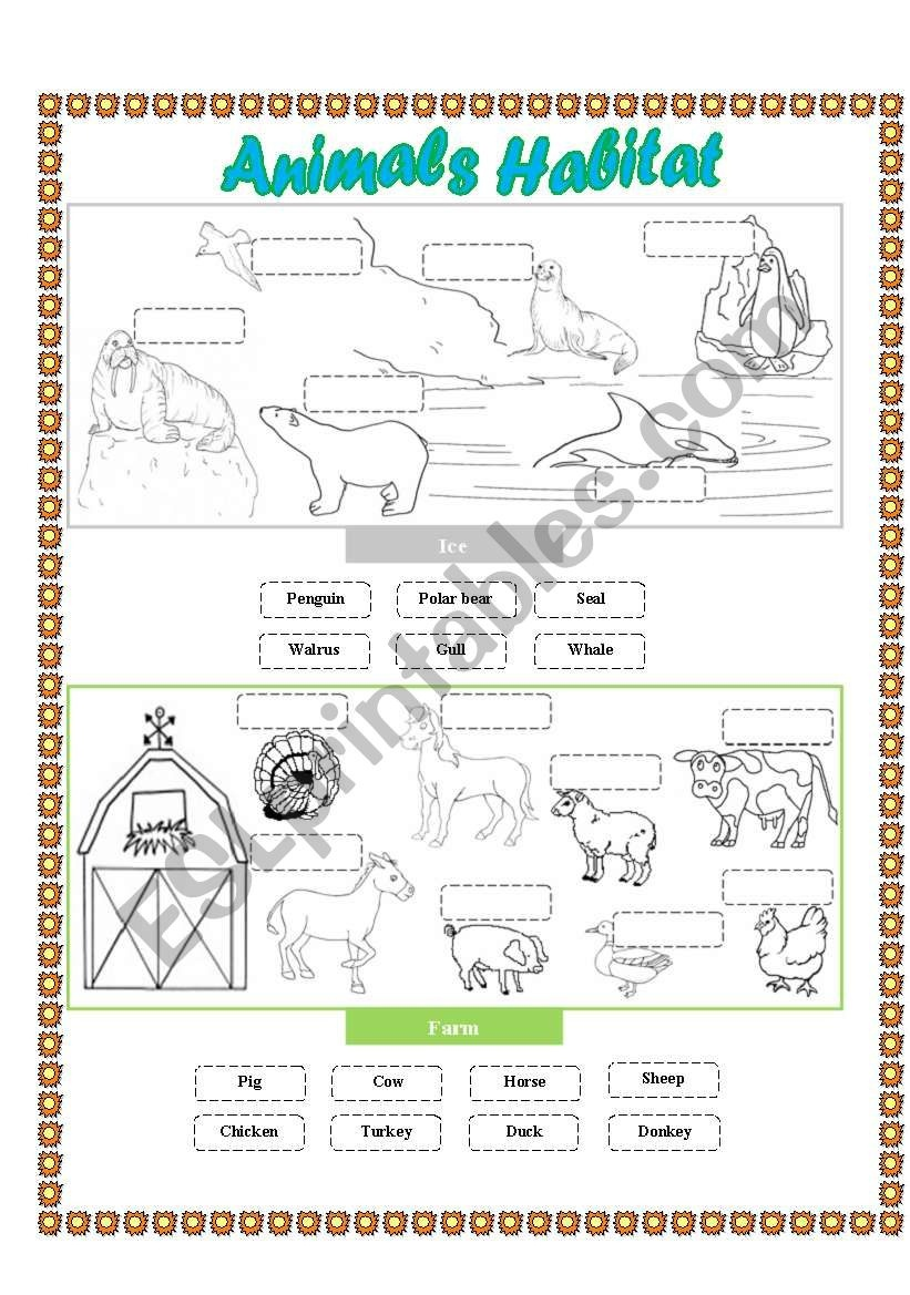 Animals Habitat - (Farm - Ice) Cut And Paste - Esl Worksheet - Free Printable Worksheets Animal Habitats