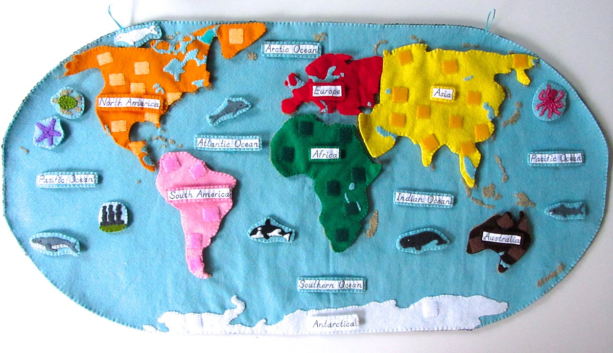 Animals Of The Ocean For The Montessori Wall Map & Quietbook With - Montessori World Map Free Printable