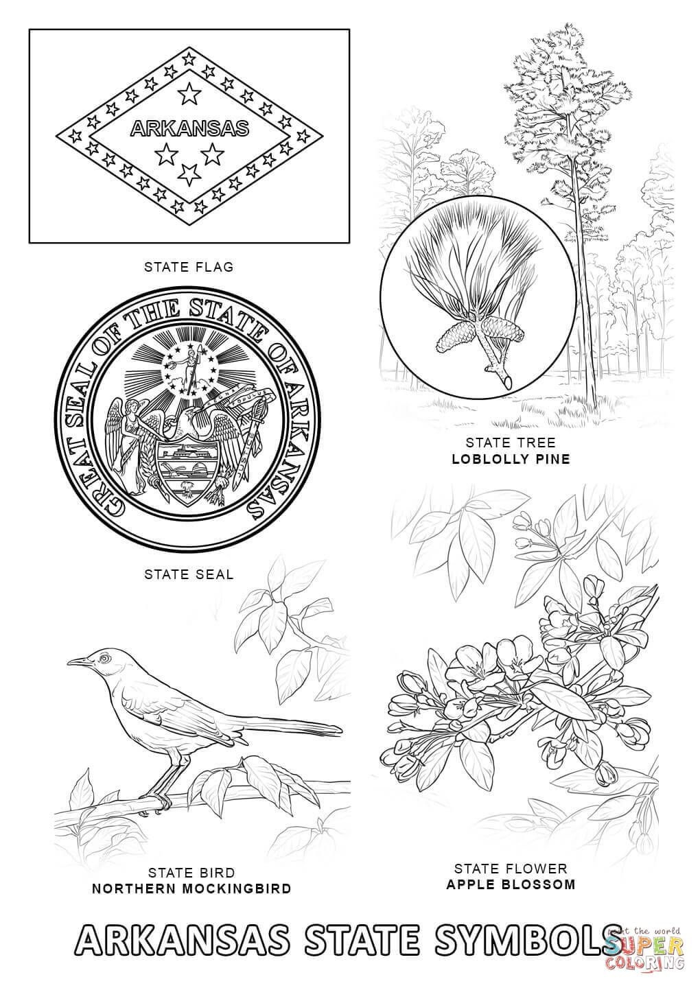 Arkansas State Symbols | Super Coloring | My Bloodlines | Map Of - Free Printable Arkansas History Worksheets