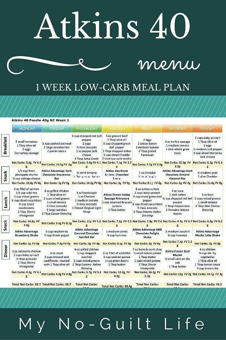 Atkins 40 | Lose Weight | Atkins 40 Meal Plan, Atkins Diet, No Carb - Free Printable Low Carb Diet Plans