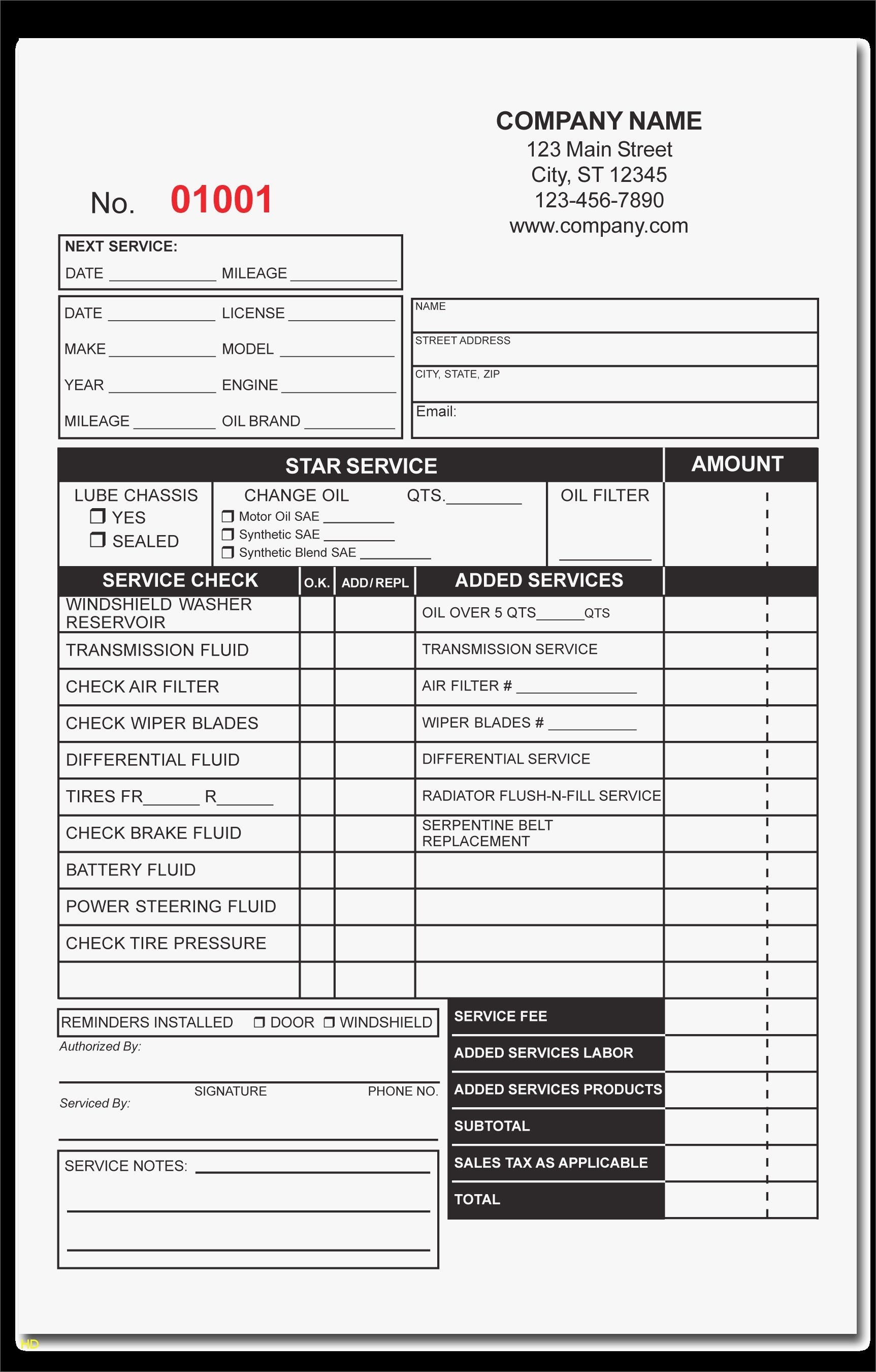 Auto Repair Template Free Awesome Free Printable Auto Repair Invoice - Free Printable Auto Repair Invoice Template