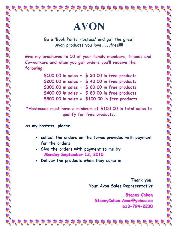 Avon Party Hostess$   Avon   Avon Sales, Avon, Avon Online - Free Printable Avon Flyers