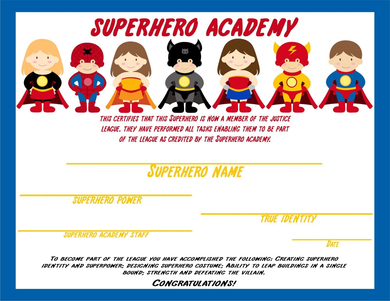Awesome Ideas For Students To Do To Earn A Superhero Certificate - Free Printable Superhero Certificates