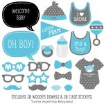 Baby Boy   Baby Shower Photo Booth Props Kit   20 Count | Clip Art   Free Printable Boy Baby Shower Photo Booth Props