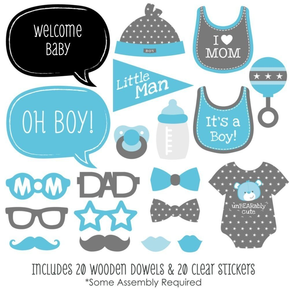 Baby Boy - Baby Shower Photo Booth Props Kit - 20 Count | Clip Art - Free Printable Boy Baby Shower Photo Booth Props