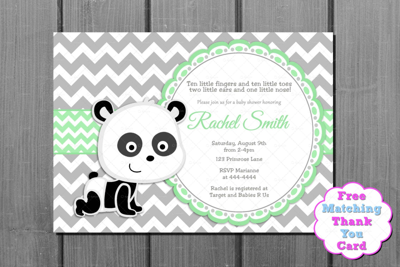 Baby Shower Invitation Green Panda Bear And Free Thank You | Etsy - Panda Bear Invitations Free Printable