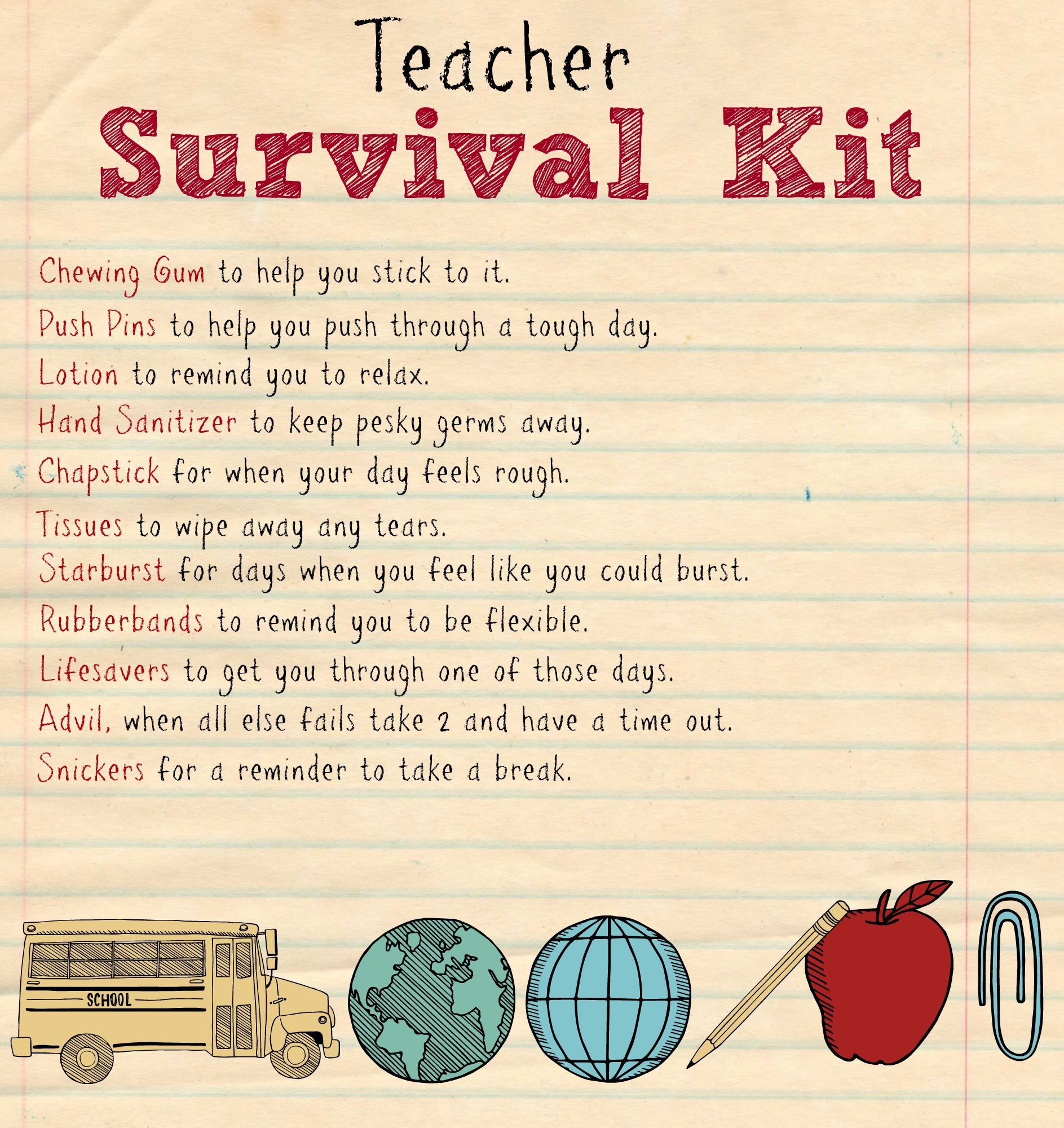 Back To School Teacher Supply Kit | Survival Kit | School Supplies - Teacher Survival Kit Free Printable