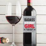 Badass Birthday Girl – Birthday Wine Label Pdf Download In Gray   Free Printable Wine Labels For Birthday