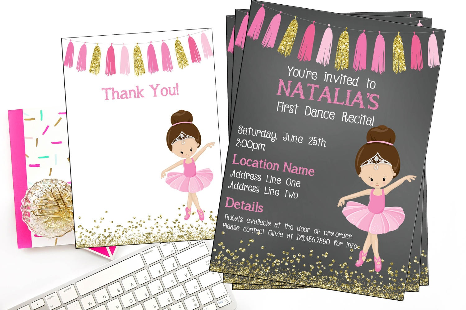 Ballet Recital Invitation Ballerina Dance Invitation Dance | Etsy - Free Printable Dance Recital Cards
