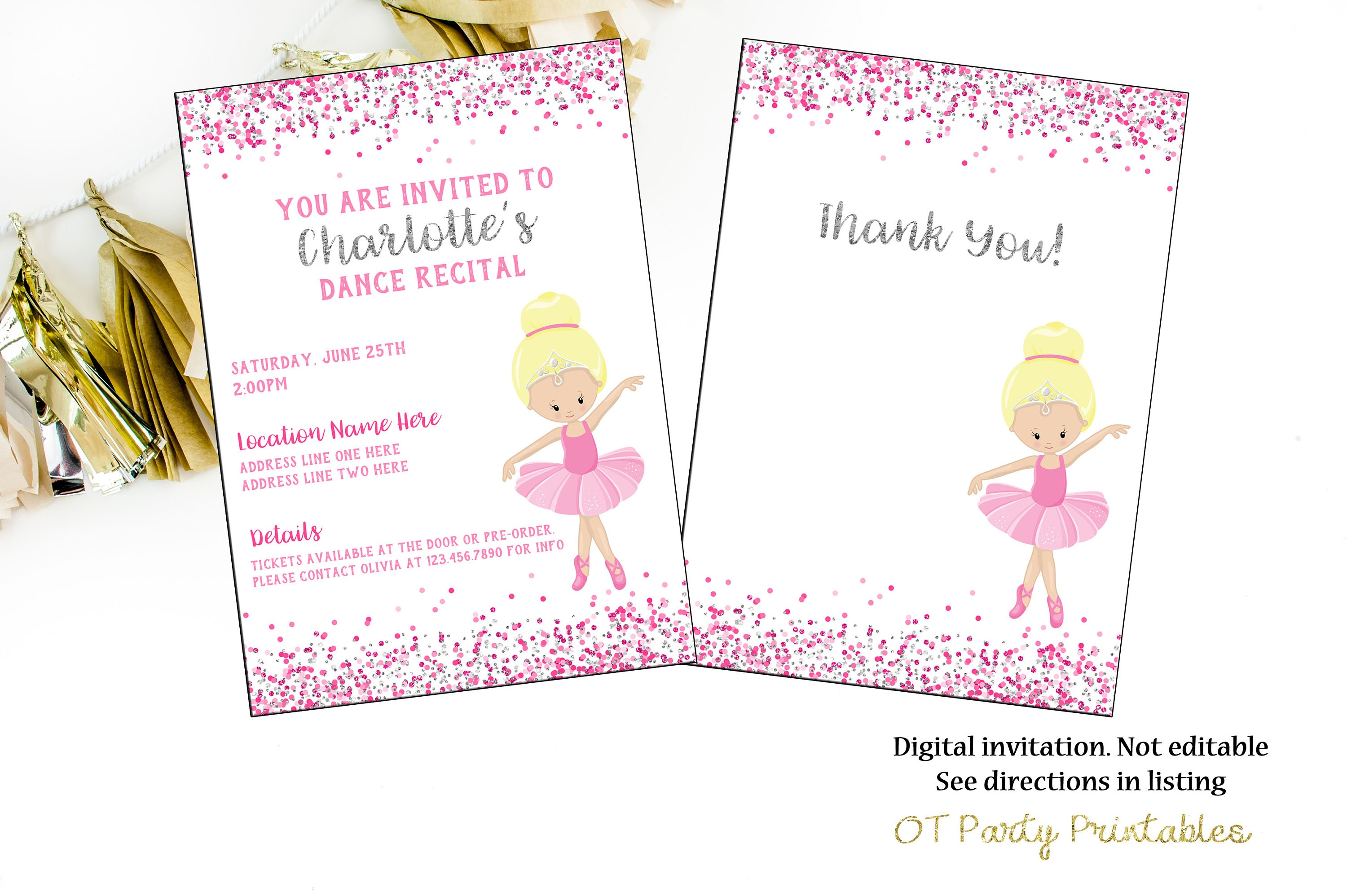 Ballet Recital Invitation Dance Digital Invite Ballerina | Etsy - Free Printable Dance Recital Cards