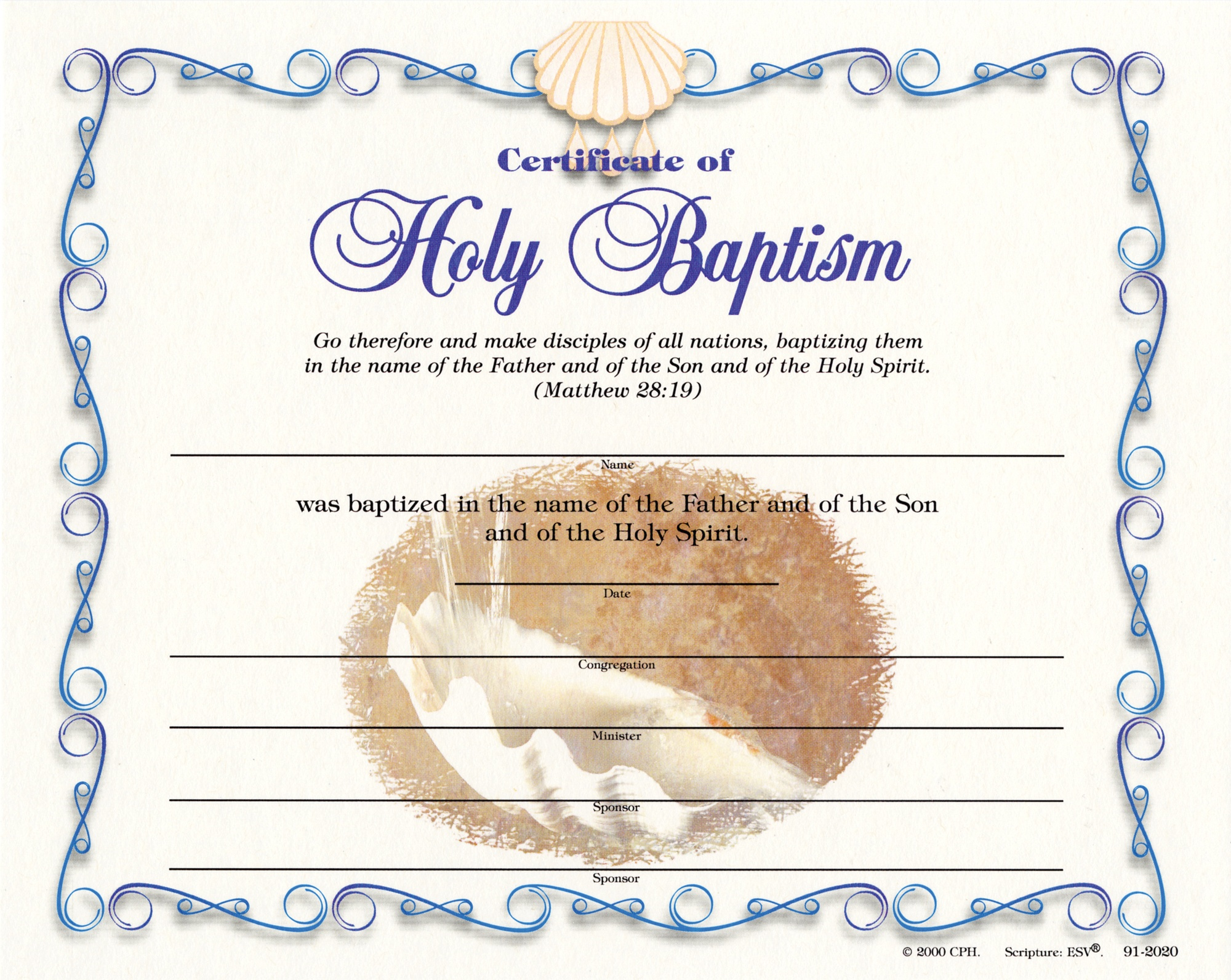 Baptismal Certificate - Adult (Pkg Of 12) - Free Online Printable Baptism Certificates