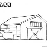 Barn Coloring Pages   Barn Coloring Pages With Two Cows Free   Free Printable Barn Coloring Pages